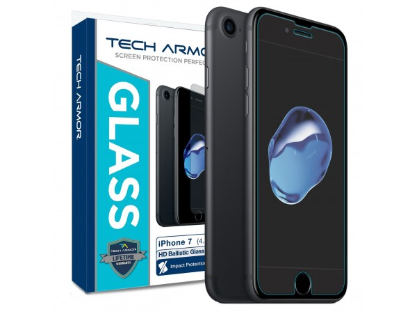 Apple iPhone 7 Glass Screen Protector, Tech Armor Premium Ballistic Glass Apple iPhone 7 (4.7-inch) Screen Protector
